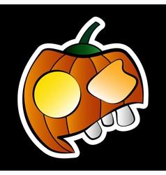 sticker - halloween orange pumpkin with face vector image vector image