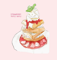 Strawberry triffle waffle water color vector