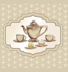 Tea cup kettle retro card tea time vintage vector