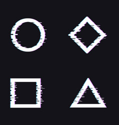 Trendy glitched shapes vector