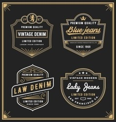 Vintage denim jeans frame logo for your business vector