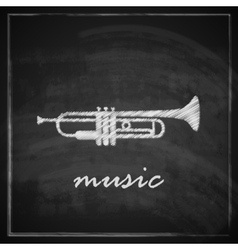Vintage with the trumpet on blackboard background vector