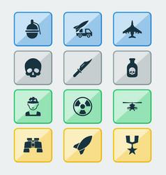 Warfare icons set collection of cranium order vector