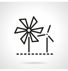 Wind turbine and mill black line icon vector image