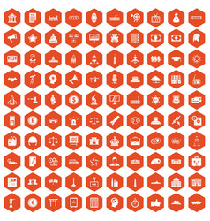 100 government icons hexagon orange vector