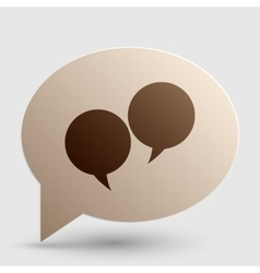 Speech bubble sign brown gradient icon on bubble vector