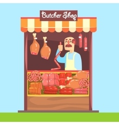 Butcher behind market counter with assortment of vector