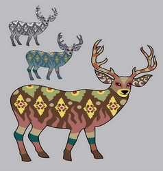 Deer decorative in monochrome and color vector image