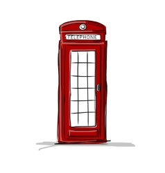 London phone box sketch for your design vector