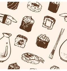 Seamless pattern sushi rolls and japanese seafood vector