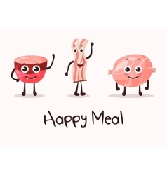 Cartoon meat food character beacon steak vector