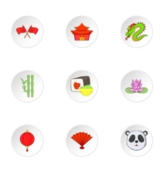 Country of china icons set cartoon style vector