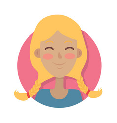 woman face emotive icon in flat style vector image