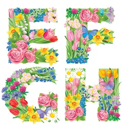 Alphabet of flowers efgh vector