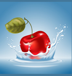Cherry in water splash vector