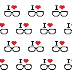 I love geeks glasses seamless pattern vector