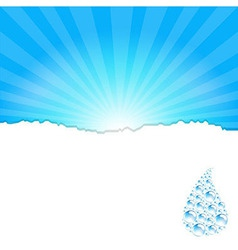 Sanburst background with water drop vector
