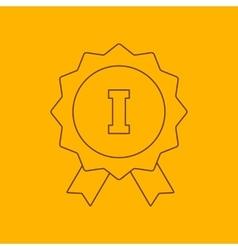 1st place ribbon line icon vector
