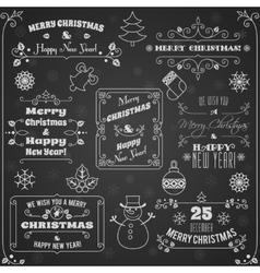 Christmas labels chalkboard set vector image