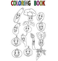 Cartoon vegetable coloring book vector