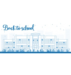 Outline landscape with school vector