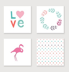 Cards collection for valentines day birthday save vector