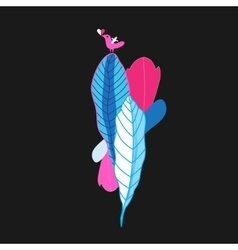 Beautiful colorful plants and bird vector