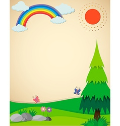 Nature scene with field and rainbow vector