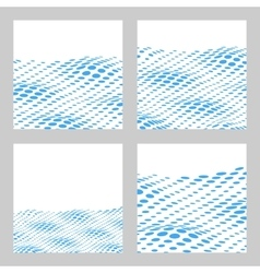 Wavy Halftone Background Set For Text Card vector image