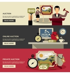 Auction banners set vector