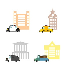 Set cars and buildings police and police station vector