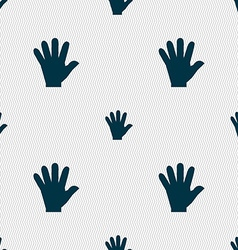 Hand icon sign seamless pattern with geometric vector