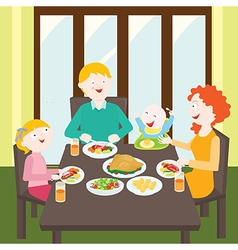 Happy family dinner vector
