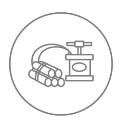 Dynamite and detonator line icon vector