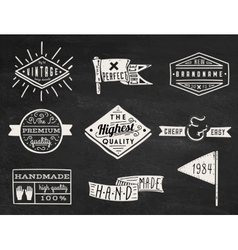 Set of chalk hipster vintage retro labels and log vector