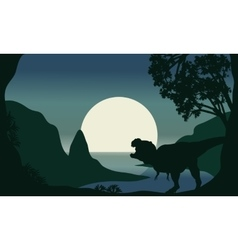 Silhouette of one tyrannosaurus and moon vector