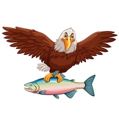 Eagle flying with fish in claws vector