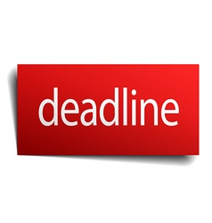 Deadline red square isolated paper sign on white vector