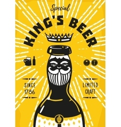 Vintage poster with a beer bottle and king vector