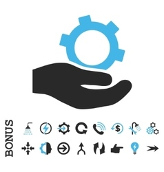 Engineering service flat icon with bonus vector