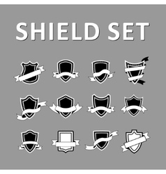 Black Shields and ribbons vector image vector image