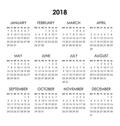 Calendar 2018 year vector