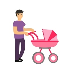 Cartoon cute dad with a stroller vector