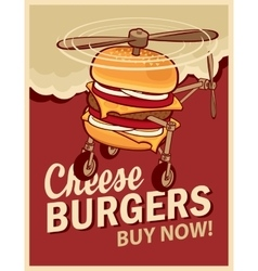 Cheeseburger with wheels and a propeller vector