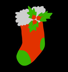 christmas stocking vector image vector image