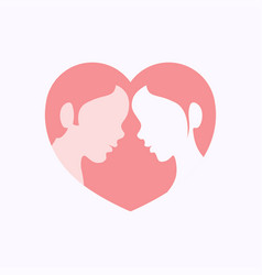 couple faces in heart shaped silhouette vector image vector image