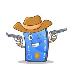 Cowboy credit card character cartoon vector