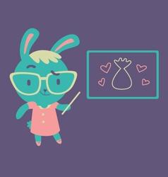 Cute bunny kindergarten teacher vector