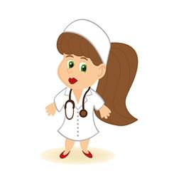 Doctor women in white bathrobe vector