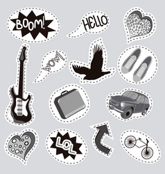 fashionable patches with isolated elements set vector image
